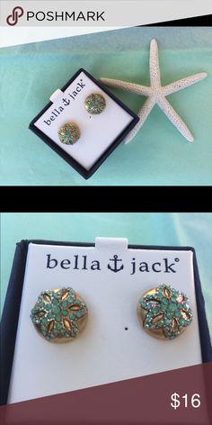 Bella & Jack earrings ( new in box) Gold with greenish blue stones Jewelry Earrings