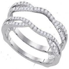 40492818- White Gold With Round Diamond Ring Guard Engagement Wedding Ring Enhancer