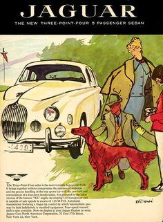 Jaguar Three-Point Four Sedan 1957 Irish Setter - Mad Men Art: The Vintage Advertisement Art Collection Art Vintage, Vintage Ads, Vintage Posters, Vintage Prints, New Jaguar, Jaguar Cars, True Car, Irish Setter Dogs, Car Jokes