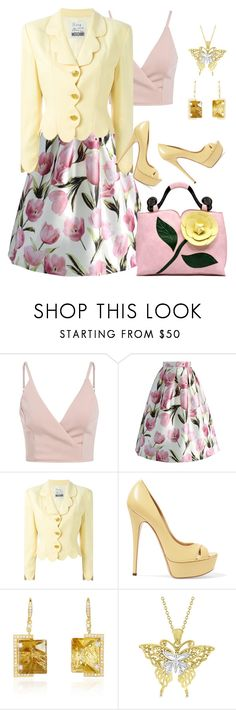 """""""Yellow and Pink"""" by mozzy18 ❤ liked on Polyvore featuring Chicwish, Moschino, Casadei and Allurez"""