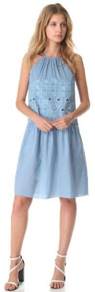 Tibi Eyelet Embroidery Halter Dress in Blue - Lyst
