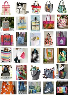 30 FREE TOTE BAG PATTERNS: Just in time for back-to-school or holiday projects, we've assembled a collection of 30 free sewing patterns for tote bags (and a backpack). These are perfect for books, groceries, knitting, or anything else you need to haul aro Purse Patterns, Sewing Patterns Free, Free Sewing, Sewing Tutorials, Sewing Projects, Free Pattern, Bag Tutorials, Free Tote Bag Patterns, Quilt Patterns