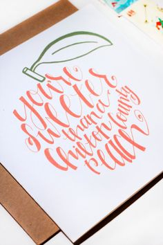 making Southern greeting cards by combining hand lettering and Alabama's beloved Chilton County peaches!