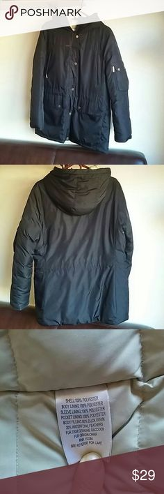 """Calvin Klein Down Puffer Parka Bust 21 1/2"""" across, length shoulder to bottom hem 30"""", sleeve length 25"""". Genuine duck down fill 80%, 20% waterfowl feathers for remaining fill. 100% polyester outer shell & lining. 2 big drop pockets, 2 chest hand warmer zip pockets, 1 inside zip pocket, 1 left sleeve cell pocket, 1 left sleeve zip pocket. Don't have fur hood trim. Discoloration on inside sleeves and collar that normally happens to real down over time. Tiny rip right sleeve (no down leaks…"""