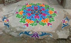 Easy Rangoli Designs Videos, Indian Rangoli Designs, Rangoli Designs Latest, Simple Rangoli Designs Images, Latest Rangoli, Rangoli Designs Flower, Rangoli Border Designs, Colorful Rangoli Designs, Beautiful Rangoli Designs