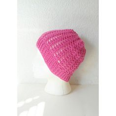Lacy Pink Skullcap Beanie Hat, ready to ship. ($42) ❤ liked on Polyvore featuring accessories, hats, pink beanie hat, beanie hats, pink beanie, pattern hats and stitch hat
