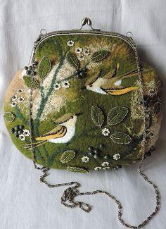 Handmade felted purse with birds Wool purse by MarusyaKacharizkina