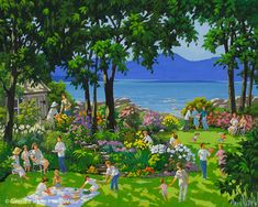 Rémi Clark, 'La fête au jardin', x Art Gallery, Galerie D'art, Colorful Paintings, Family Life, Dolores Park, Artwork, Houses, Travel, Gardens