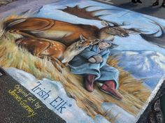 Irish Elk, origianl art by James Gurney.  Chalk art on the street is 12' x 12'