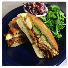 BLUE PLATE SPECIAL, 11/20/2013 CUBAN SANDWICH: House-made shaved Seitan and roasted-smoked Tofu, house-made Pickle spears, Mustard, Roasted Garlic tofu mayo, Swiss/Daiya/house vegan cheese; all on a Pressed Grilled bun. Served with our smashed-Potato Salad or our signature Red Cabbage Slaw. www.veggiegalaxy.com