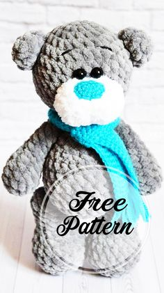 Free and Amazing Plush Amigurumi Bear Pattern Grey Colored , amigurumi patterns free; amigurumi for beginners; Doll Amigurumi Free Pattern, Crochet Patterns Amigurumi, Amigurumi Doll, Amigurumi Minta, Crochet Unique, Quick Crochet, Knitted Dolls, Crochet Dolls, Crochet Bear Patterns