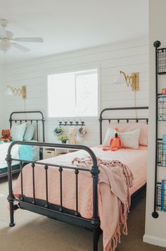 Kid's bedroom ideas with shiplap wal… Cottage Style Kids' Bedroom Reveal! Kid's bedroom ideas with shiplap wall and farmhouse style decor. Farmhouse Bedroom Decor, Farmhouse Style Decorating, Farmhouse Design, Modern Farmhouse, Farmhouse Ideas, Farmhouse Table, Girl Room, Girls Bedroom, Kid Bedrooms
