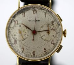 Currently at the #Catawiki auctions: Turler - Vintage 14K Solid Yellow Gold Chronograph Manual Winding Wristwatch,...