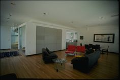 Architectural Teaching Slide Collection - Schwartz residence, Santa Monica, Calif., 1996? - Interior photograph of the residence of Mr. and Mrs. Martin Schwartz, 444 Sycamore Road, Santa Monica, California, 1996? Designed by Pierre Koenig.