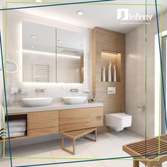 white tile in guest bathrooms upstairs H- white sinks sunk in to counter. BE… white tile in guest bathrooms upstairs H- white sinks sunk in to counter. Guest Bathrooms, Bathroom Spa, Wood Bathroom, Bathroom Renos, White Bathroom, Modern Bathroom, Master Bathroom, Bathroom Cabinets, Bathroom Storage