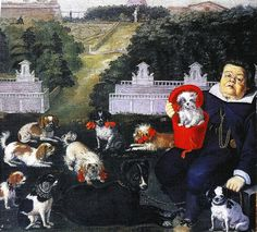 Dogs Belonging to the Medici Family in the Boboli Gardens by Tiberio Di Tito (1573–1627) - Dog Stories from The Spectator | The Public Domain Review