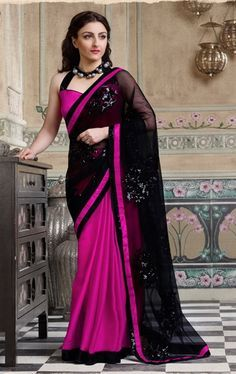 #New #Pink and #Black #Bollywood #Saree