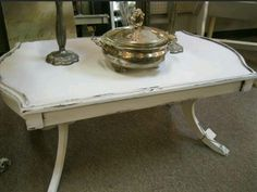 Duncan Phyfe coffee table painted with Cotton White Farmhouse Paint. Artist: Patina Chic