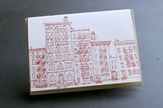 NYC  eight letterpress note cards by albertinepress on Etsy
