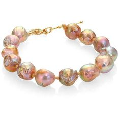Lena Skadegard 12.75MM Baroque Pebble Pearl Bracelet ($190) ❤ liked on Polyvore featuring jewelry, bracelets, pink multi, pearl bangles, pearl jewelry, peacock bangles, handcrafted jewelry and 14k bangle