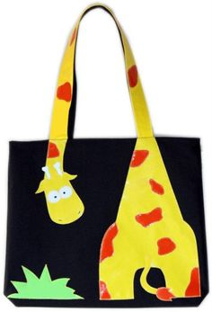 Children& ecobag with applique, My Bags, Purses And Bags, Sewing Crafts, Sewing Projects, Cat Bag, Diy Handbag, Patchwork Bags, Fabric Bags, Kids Bags