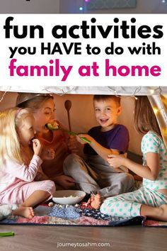 Simple and fun at home activities for kids and parents to do together. You may be stuck at home, but you can still bond as a family! Here are some play ideas and things to do while you stay inside. Everything can be done with toddlers and up! #kidsactivities #familytime #activitiesforkids Fun Activities To Do, Home Activities, Educational Activities, Toddler Activities, Toddler Crafts, Fun Games, Kids Crafts, Family Movie Night, Family Movies