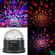 Crystal Magic Disco Ball Party Lights 6 Color Change Sound Actived RGB Mini Rotating Strobe Stage Lights with Remote Control