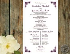 Wedding Program Templates Free | WeddingClipart.com | Wedding ...