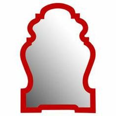 """Wall mirror with a baroque-inspired silhouette and glossy red finish.   Product: Wall mirrorConstruction Material: Polyurethane and mirrored glassColor: Glossy redDimensions: 38"""" H x 26"""" W"""