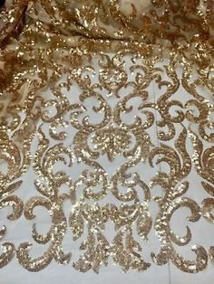 Gold Stretch Mesh W/Gold Sequin Embroidery Lace Fabric Wide 1 Yard – 2019 - Lace Diy Hand Embroidery Dress, Tambour Embroidery, Gold Embroidery, Hand Embroidery Designs, Embroidery Patterns, Gold Lace Fabric, Embroidered Lace Fabric, Sequin Fabric, Mesh Fabric