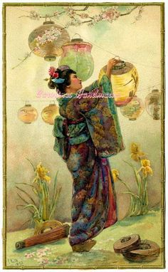 Asian Lady & Lanterns Reproduction