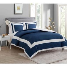 Vcny Home Avianna 3-Piece Bedding Duvet Cover Set with Shams, Multiple Colors Available, Blue