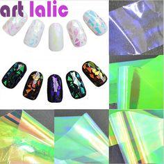 5 Fogli 3D Olografica Pellicole Vetro Rotto Dito Nail Art Adesivi Specchio di Scintillio Stencil Decalcomania Manicure FAI DA TE Strumenti di Progettazione