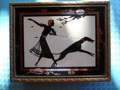 ANTIQUE JEWELRY DECO TRINKET BOX LID W/ MIRROR SILHOUETTE GIRL GREYHOUND DOG | eBay