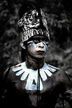 Mayan Warrior. Eve wonder why they choose to paint their bodies Black? It's in reverence of the Tamoanchan (Olmec) civilization from which they inherited their knowledge as did the Aztecs.
