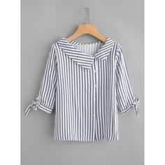 Preppy Button and Knot Striped Shirt Regular Fit Collar Half Sleeve Navy Vertical Striped Tie Cuff Blouse Source by daydaychic Blouses Kurta Designs, Blouse Designs, Blouse Styles, Collar Styles, Dress Patterns, Blouses For Women, Ladies Blouses, Casual Dresses, Fashion Outfits
