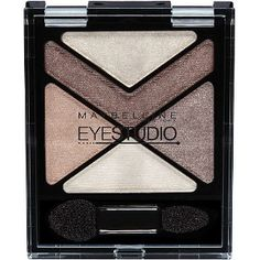 Maybelline EyeStudio eyeshadow in Caffeine Rush.  One of my FAVORITE palettes.  Use the bottom shade all over the eyes after applying primer. Use the right to contour the shape of your eyes into a V, the shade above the two to layer/intensify & use as a liner, and the top shimmer for the inner half of your lids/corners.