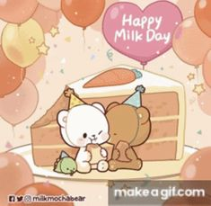 Cute Couple Comics, Cute Couple Art, Bear Birthday, Birthday Wishes, Mocha, Image Couple, Cute Bear Drawings, Chibi Cat, Cute Love Stories
