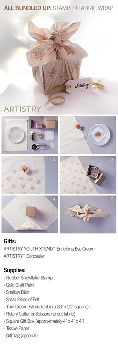 Gift Wrap idea for Artistry products! Products can be found on http://www.amway.com/jeantiffany