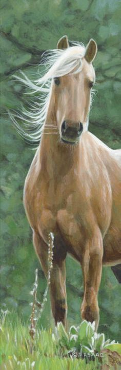 Horse Art - Acrylic painting titled Wind Swept - by Terry Isaac
