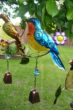 Blue Bird Metal and Fusion Glass Bell Wind Chime