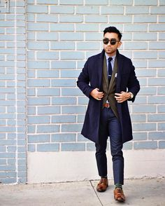 layers // menswear, mens, style, fashion, topcoat, blazer, suit, navy, tweed, sunglasses, tie, overcoat, haircut, style, cut, hair, watch, #sponsored