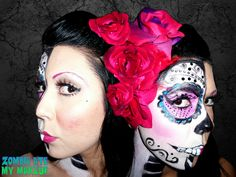 sugar skull hair & makeup | Two Faced Sugar Skull In Pink ∙ Creation by Zombie Ate My Make Up on ...