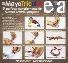 Aquí tenemos el complemente perfecto para nuestro anterior proyecto, una pulsera de nudos.  En nuestro mes #MayoTricolor comencemos a prepararnos para la #CopaAmérica2015  #Bisutería #Confección #Decoración #Colombia #Manualidades #DIY