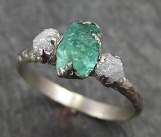Three raw Stone Diamond Emerald Engagement Ring 14k white Gold Wedding Ring Uncut Birthstone Stacking Rough Diamond Ring byAngeline 0437