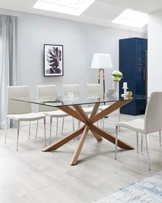 4 Seater Dining Table, Walnut Dining Table, Dining Table Legs, Modern Dining Table, Dining Set, Table Bases, Glass Kitchen Tables, Dinning Table Design, Glass Dining Room Table