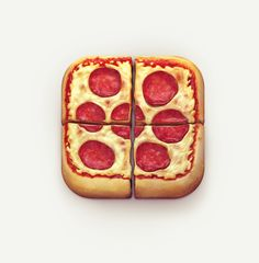 I like the way the designer cut the slices of pizza up inside the icon. At first glance this icon doesn't look like the regular rounded rectangle, but it is. The detail in the cheese, pepperoni, and tomato sauce give it a realistic feel. The shading on the crust gives the illusion of light hitting the pizza. Very fun and creative app.