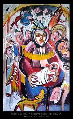 """Maciej Cieśla, """" Queen is breastfeeding """" """" 100 x 80 cm #modern #art #cieśla #polska #sztuka #młoda #malarstwo #painting #artist #abstract #expressionism #oil Sztuka współczesna. Malarstwo Wrocław. Polska młoda sztuka. Modern art. Modern art for sale. Maciej Cieśla. Polskie malarstwo. Polish art. Wrocław malarstwo, galeria wrocław. Warszawa malarstwo. Obrazy na sprzedaż."""