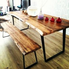 Evinizdeki doğal güzellik Ağaç masa   Ahşap Yemek Masası www.mozilya.com Natural Edge Wooden Dinner Table