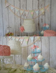 Shabby Chic, Personalized, Aqua and Pink, Vintage Garden Tea Party Baby Shower/1st Birthday - Digital Printables (DIY Full Party Package). $37.50, via Etsy.